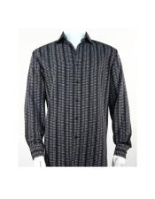 Full Cut Long Sleeve Mini Dots Black Fashion Shirt