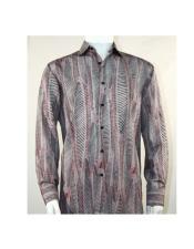 Full Cut Long Sleeve Oval Stripe Burgundy Fashion Shirt