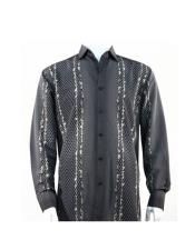 Full Cut Long Sleeve Varied Pattern Black Fashion Shirt