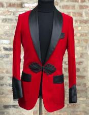 Red Velvet Dinner Jacket with Black Satin Shawl Lapel & Trim