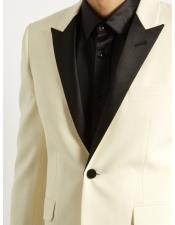 Ivory  Peak Lapel Button Closure Blazer
