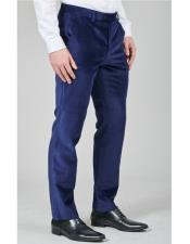 Navy Blue Pant Flat Front Regular Fit Velvet Fabric