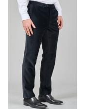 Flat Front Pant Black Belt Loops Regular Fit