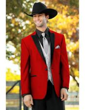 Mens Red  One Button Suit