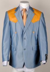 Mens Western Cowboy Suit Traje Vaquero Polyester Suit Set Blue ~ Bone Ostrich