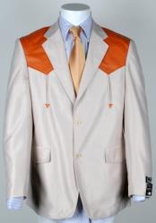 Western Cowboy Suit Traje Vaquero Polyester Suit Set Bone ~ Cognac