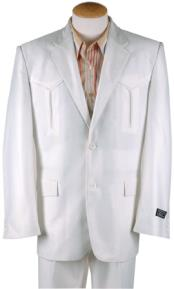White Two Button Western Cowboy Suit