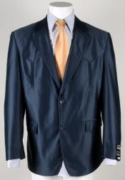 Dark Navy Flap Two Pockets Western Cowboy Suit