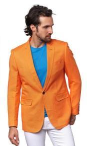 Mens Linen Blazer - Orange