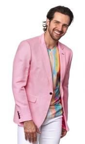 Mens Linen Blazer - Pink
