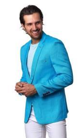 Mens Linen Blazer - Turquoise
