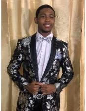 Black and Silver Floral ~ Paisley Tuxedo Dinner Jacket Blazer Sport Coat
