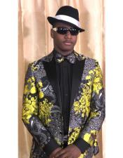 Gold Black and Grey Floral Satin Shiny Fashion Blazer Dinner Jacket Paisley Sport Coat Flashy Stage Fancy
