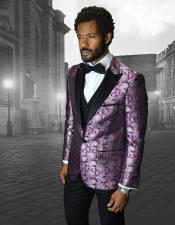 Single Breasted Peak Label Purple ~ Laveder Tuxedo Suit