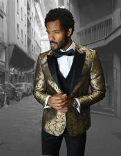 Breasted Peak Label Gold ~ Silver Tuxedo Suit