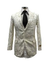 Floral Satin Shiny Fashion Blazer Dinner Jacket Paisley Sport Coat Flashy Stage Fancy Party Peak Label White