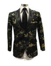 Black Floral ~ paisley pattern shiny satin shawl lapel Blazer