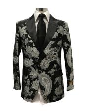 Black Floral Satin Shiny Fashion Blazer Dinner Jacket