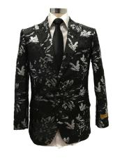 Black Floral Paisley pattern peak lapel Dinner Jacket