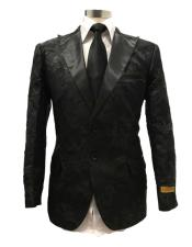 Black Floral Satin Single Breasted Peak Label  Dinner Jacket