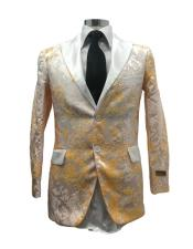 Floral Satin Shiny Fashion Blazer Dinner Jacket Paisley Sport Coat Flashy Stage Fancy Party Peak Label White/Gold