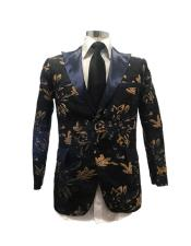 Floral Satin Shiny Fashion Blazer Dinner Jacket Paisley Sport Coat Flashy Stage Fancy Party Peak Label Black/Gold