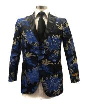 Floral Satin Shiny Fashion Blazer Dinner Jacket Paisley Sport Coat Flashy Stage Fancy Party Peak Label Black/Blue