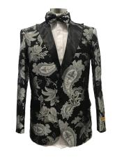 Floral Satin Shiny Fashion Blazer Dinner Jacket Paisley Sport Coat Flashy