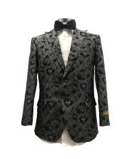 Floral Satin Shiny Fashion Blazer Dinner Jacket Free Matching bowtie Paisley