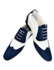 Nardoni Leather Two Toned  Wing Tip Shoe + Navy Blue