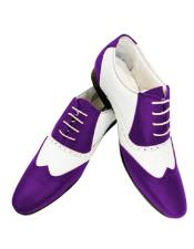 Alberto Nardoni Leather Two Toned  Wing Tip Shoe + Purple Color