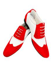 Nardoni Leather Two Toned  Wing Tip Shoe + Red Color