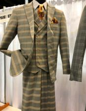 Vintage Plaid ~ Windowpane Vested Suit 3 Pieces Regular Fit Khaki