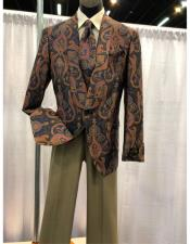 Brown Floral Pattern One Chest Pocket One Button Shawl Lapel Blazer