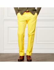 Mens Summer Linen Dress Pants Yellow Flat Front Pant