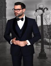 Encore-V Mens Modern Fit 1 button Navy Tuxedo with Black Velvet Lapel