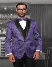 Purple 1-Button Notch Tuxedo