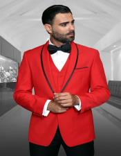 Genova Red 1-Button Shawl Tuxedo - Red Tuxedo