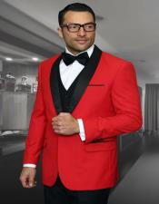Red 1-Button Shawl Tuxedo - Red Tuxedo