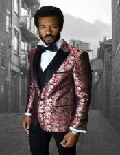 Bellagio IV Red 1-Button Peak Tuxedo - Red Tuxedo