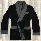One Button Double Breasted Black Velvet Suit