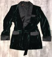 One Button Double Breasted Green Velvet Suit