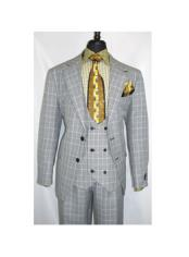 Two Button Single Breasted Plaid Design Gray Suit