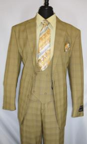 Fortino Landi #5702v6-TanPlaid- Vested Mens Checkered Suit