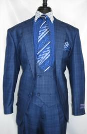 #V2Rw-7 -BluePlaid- Vested Mens Checkered Suit