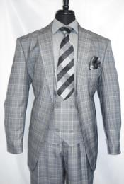 #V2Rw-7 -GreyPlaid- Vested Mens Checkered Suit