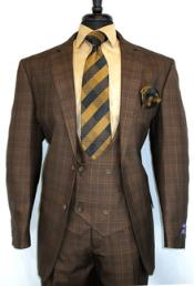 #V2Rw-7 -BrownChestnut- Plaid Vested Mens Checkered Suit