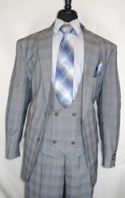 Fortino Landi #5702v6-GreyPlaid- Vested Mens Checkered Suit