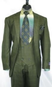 -OliveGreen- Plaid Vested Mens Checkered Suit