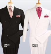 Double Breasted Black ~ White Suit With Double Pleated Pants